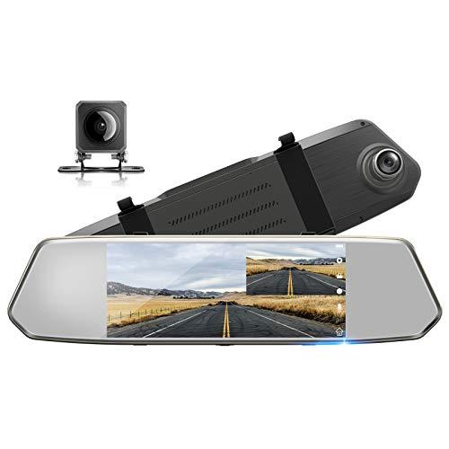 TOGUARD Backup Camera 7' Mirror Dash Cam Touch Screen 1080P...