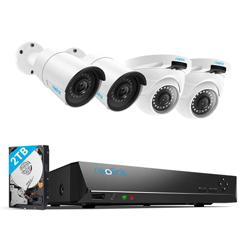 REOLINK 4MP 8CH PoE Security Camera System for Home and Business,...