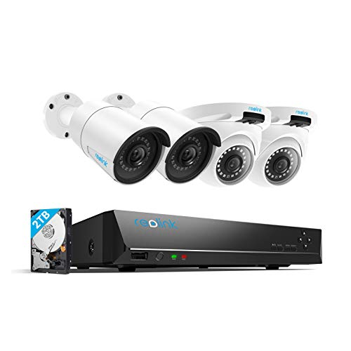 Reolink 4MP 8CH PoE Video Surveillance System, 4pcs Wired Outdoor...