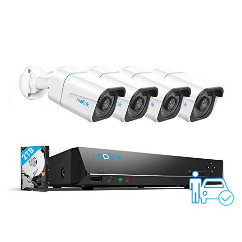 REOLINK Smart 4K PoE Security Camera System, 4pcs Person/Vehicle...