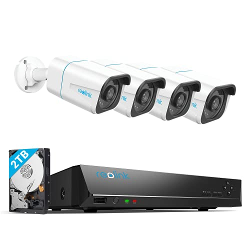 REOLINK H.265 4K PoE Security Camera System, 4pcs Smart 8MP Wired...