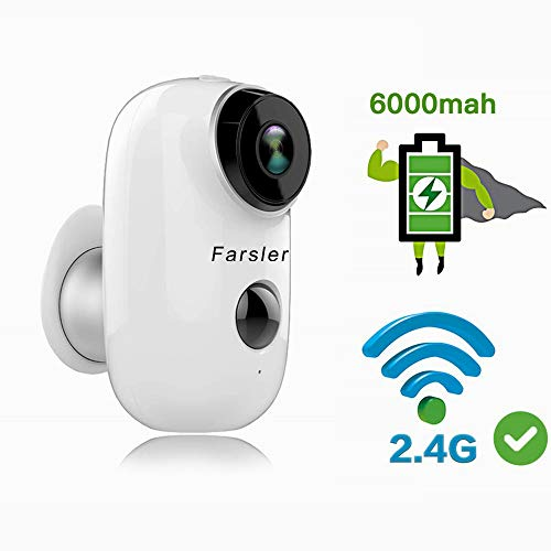 Outdoor Solar Battery Powered Security Camera, Farsler 1080P Home...