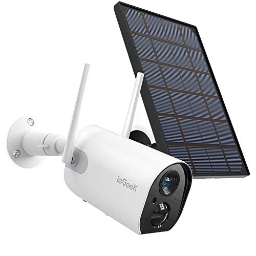 Wireless Outdoor Security Camera, WiFi Solar Rechargeable Battery...