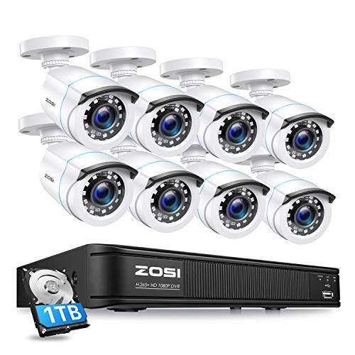 ZOSI 1080P H.265+ Home Security Camera System,5MP Lite 8 Channel...