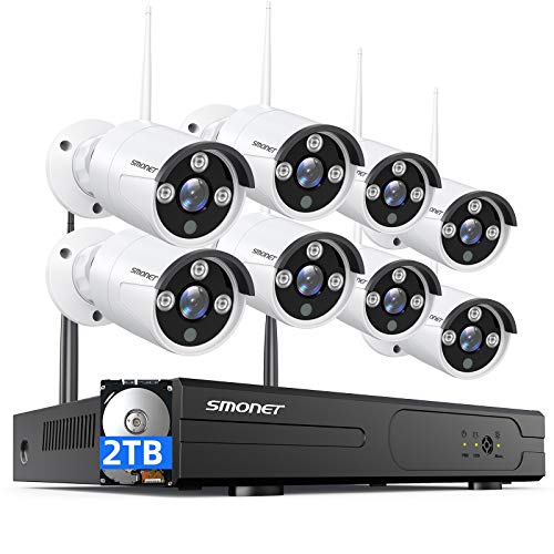 【2021 NEW】SMONET Security Camera System Wireless,8CH Full HD...
