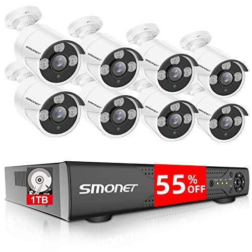 【16CH Expandable】 SMONET Surveillance Camera Systems,5-in-1...