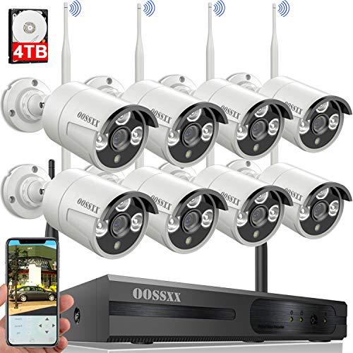 【60 Days Storage】 Wireless Security Camera System,OOSSXX 8...