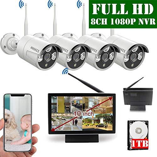 2020 Update 10 inch Screen HD 1080P 8-Channel Outdoor Wireless...