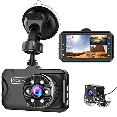 Dash Cam Front and Rear CHORTAU Dual Dash Cam 3 inch Dashboard...