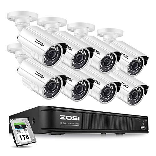 ZOSI 1080p Home Security Camera System Outdoor Indoor, 1080N...