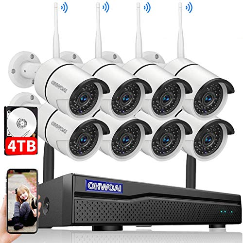 【2021 New】 Security Camera System Wireless, 4TB Hard Drive...