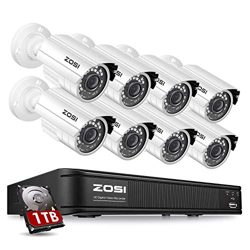 ZOSI H.265+1080p Home Security Camera System Outdoor Indoor,...