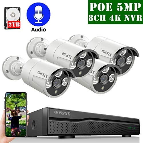 4K 8ch POE NVR Security Camera Systems Outdoor Wired,OOSSXX IP...