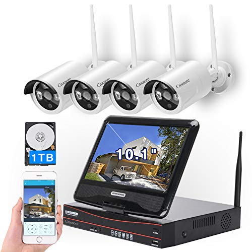 [8CH, Expandable] All in one with 10.1' Monitor Wireless Security...
