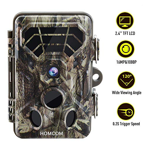 HOMCOM Trail Game Camera Motion Activated, 16MP Scouting Wildlife...
