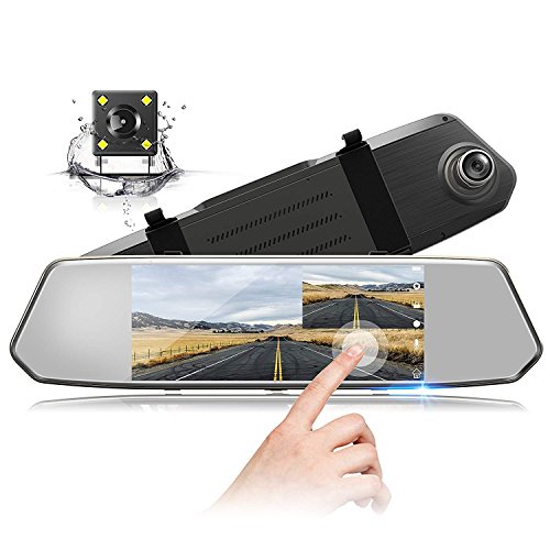 TOGUARD Backup Camera 7' Mirror Dash Cam Touch Screen 1080P...