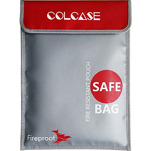 COLCASE Fireproof Document Bag 15 x 11 Inches Non-Itchy Silicone...