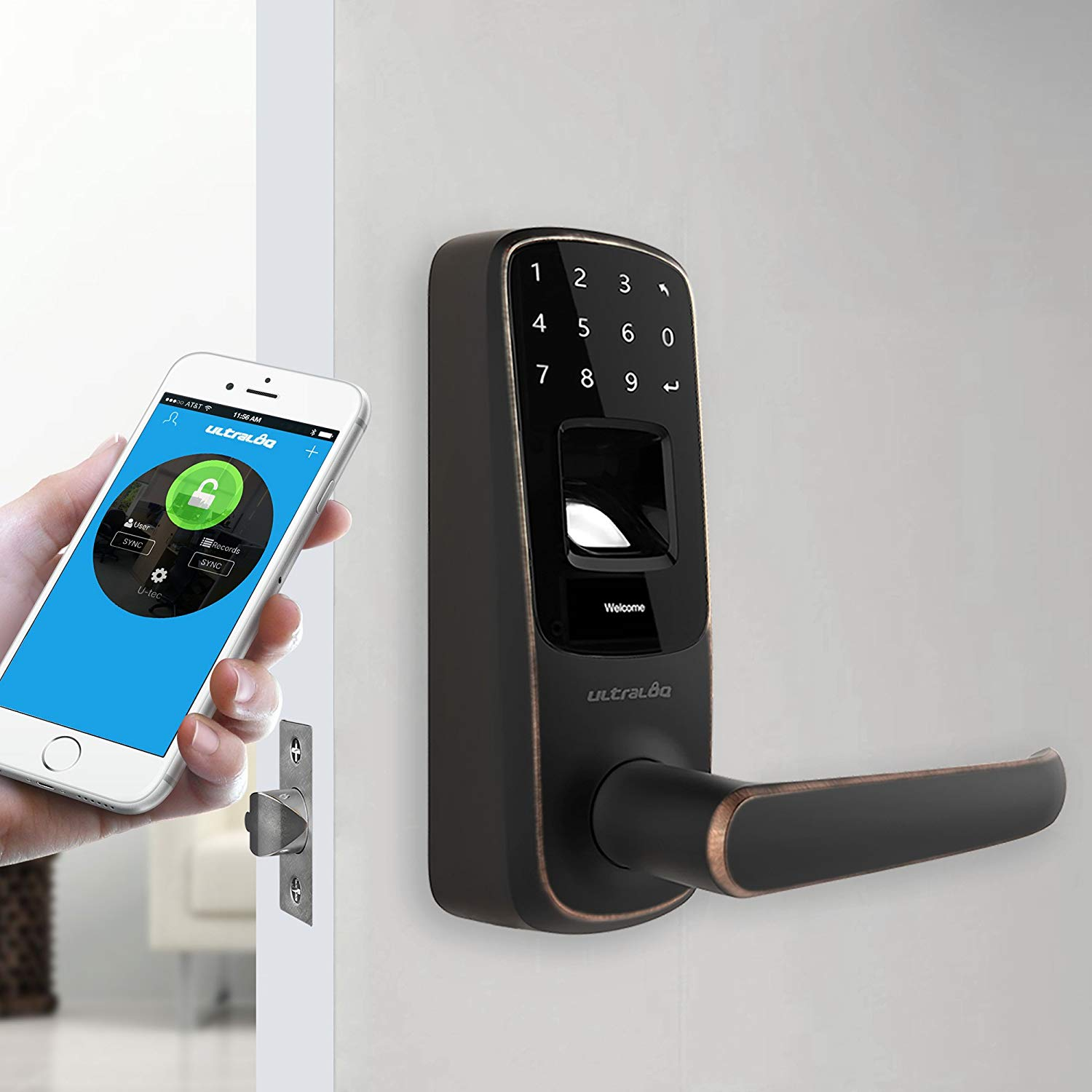 Ultraloq UL3 BT Bluetooth Enabled Fingerprint and Touchscreen Keyless Smart Door Lock